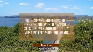 The best and most beautiful things in the world cannot be seen or even touched - they must be felt