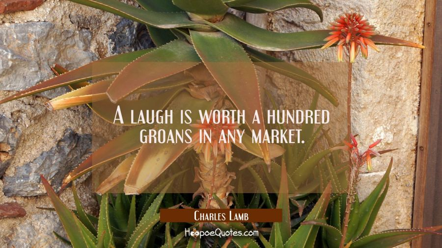 A laugh is worth a hundred groans in any market. Charles Lamb Quotes