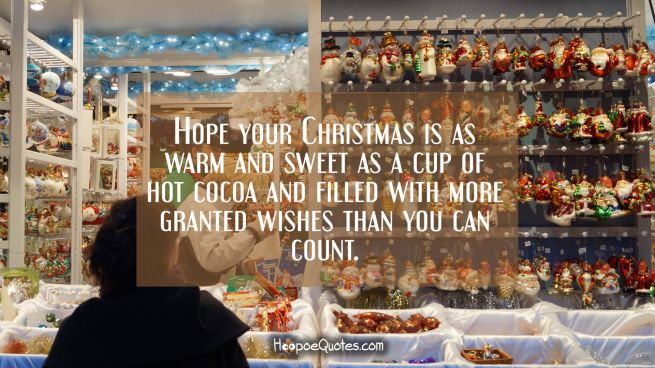 Hope your Christmas is as warm and sweet as a cup of hot cocoa and filled with more granted wishes than you can count.