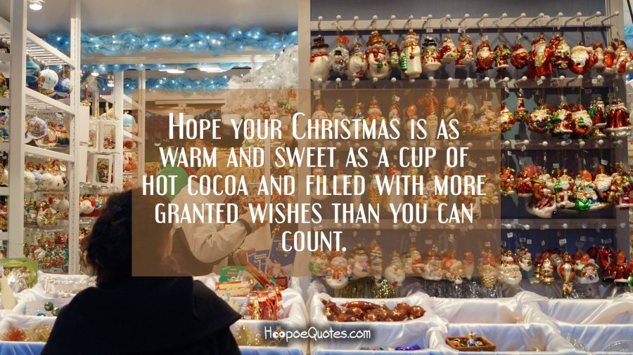 Hope your Christmas is as warm and sweet as a cup of hot cocoa and filled with more granted wishes than you can count. Christmas Quotes