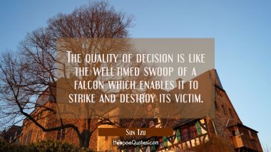 The quality of decision is like the well-timed swoop of a falcon which enables it to strike and des