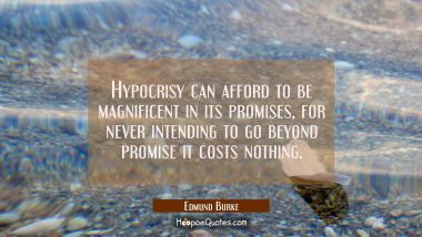 Hypocrisy can afford to be magnificent in its promises for never intending to go beyond promise it
