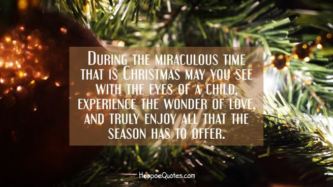 During the miraculous time that is Christmas may you see with the eyes of a child, experience the wonder of love, and truly enjoy all that the season has to offer.