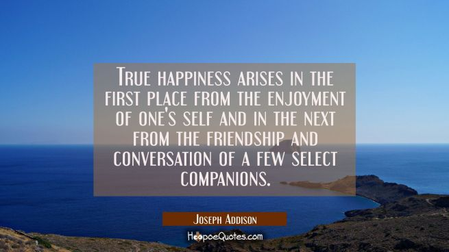 True happiness arises in the first place from the enjoyment of one's self and in the next from the