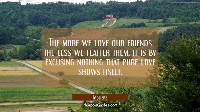 The more we love our friends the less we flatter them, it is by excusing nothing that pure love sho