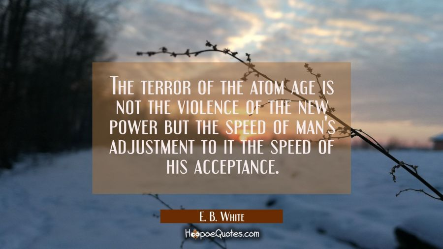 The terror of the atom age is not the violence of the new power but the speed of man's adjustment t E. B. White Quotes