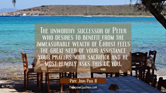 The unworthy successor of Peter who desires to benefit from the immeasurable wealth of Christ feels