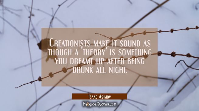 Creationists make it sound as though a 'theory' is something you dreamt up after being drunk all ni