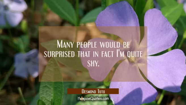 Many people would be surprised that in fact I'm quite shy.