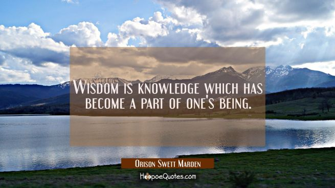 Wisdom is knowledge which has become a part of one's being.