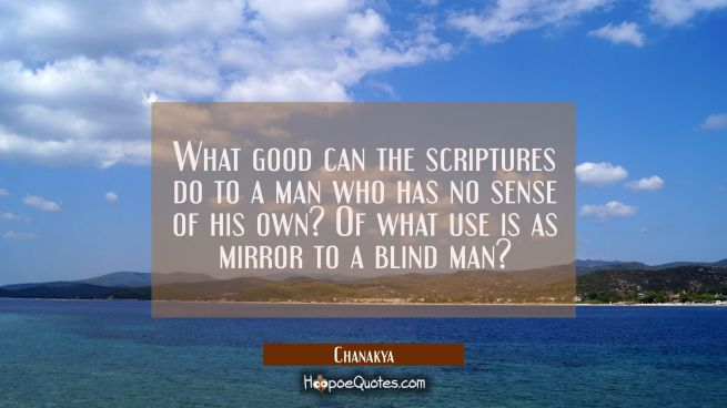 What good can the scriptures do to a man who has no sense of his own? Of what use is as mirror to a