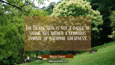 The Black skin is not a badge of shame but rather a glorious symbol of national greatness.