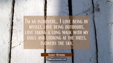 I'm an introvert... I love being by myself love being outdoors love taking a long walk with my dogs Audrey Hepburn Quotes