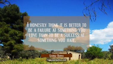 I honestly think it is better to be a failure at something you love than to be a success at somethi