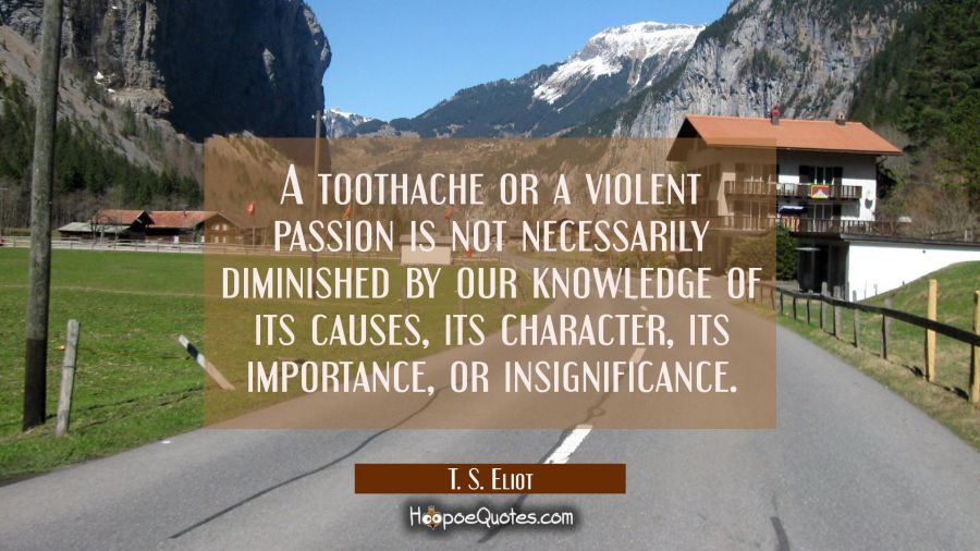 A toothache or a violent passion is not necessarily diminished by our knowledge of its causes its c T. S. Eliot Quotes