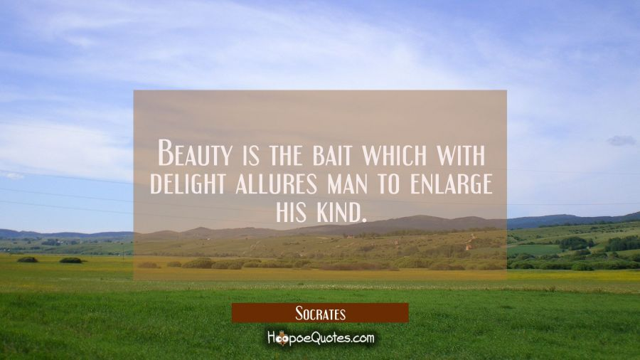 Beauty is the bait which with delight allures man to enlarge his kind. Socrates Quotes