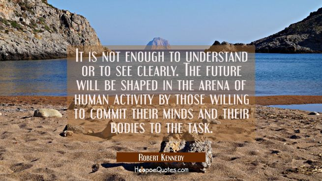 It is not enough to understand or to see clearly. The future will be shaped in the arena of human a