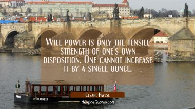 Will power is only the tensile strength of one's own disposition. One cannot increase it by a singl