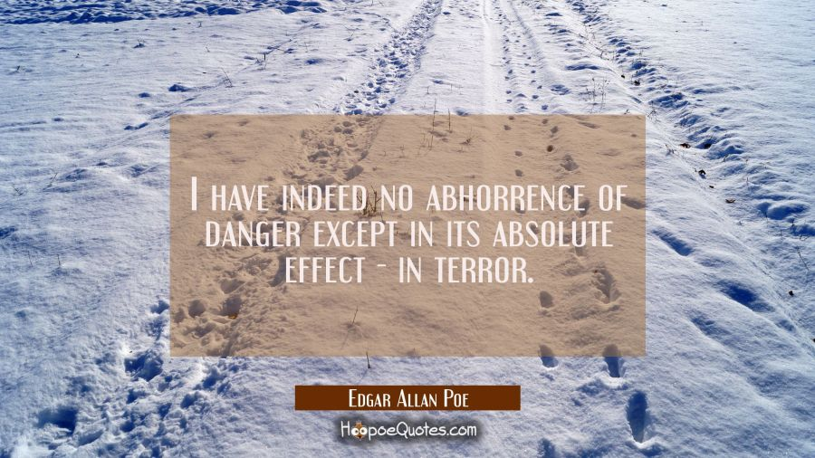 I have indeed no abhorrence of danger except in its absolute effect - in terror. Edgar Allan Poe Quotes