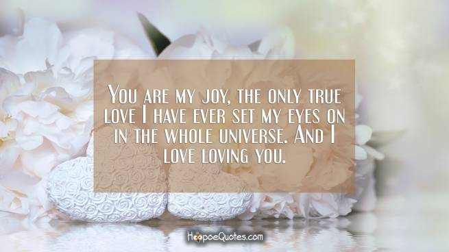 You are my joy, the only true love I have ever set my eyes on in the whole universe. And I love loving you.