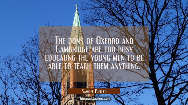 The dons of Oxford and Cambridge are too busy educating the young men to be able to teach them anyt