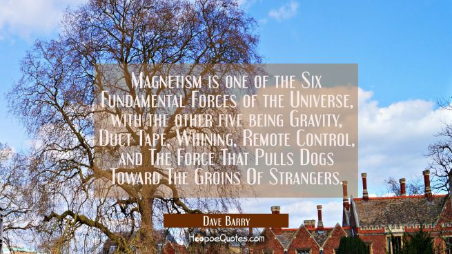 Magnetism is one of the Six Fundamental Forces of the Universe with the other five being Gravity Du