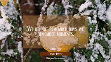 We do not remember days we remember moments.