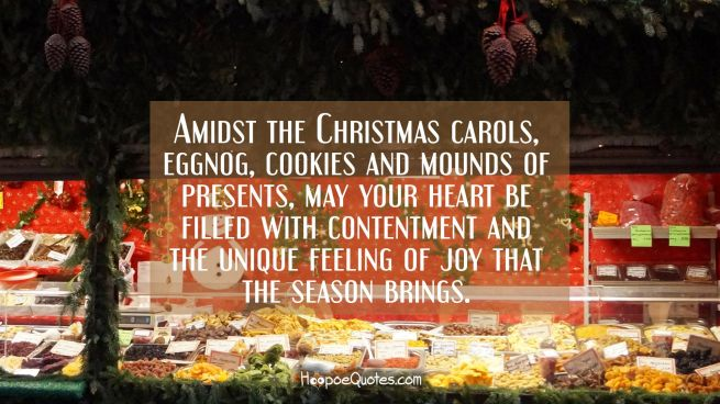 Amidst the Christmas carols, eggnog, cookies and mounds of presents, may your heart be filled with contentment and the unique feeling of joy that the season brings.