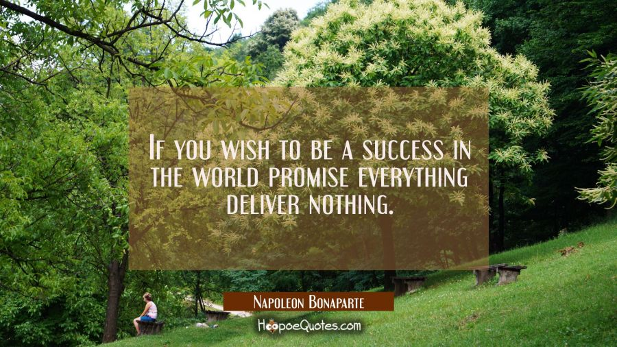If you wish to be a success in the world promise everything deliver nothing. Napoleon Bonaparte Quotes