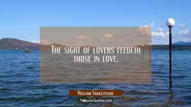 The sight of lovers feedeth those in love