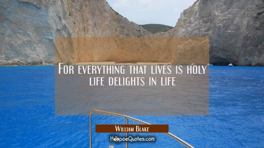 For everything that lives is holy life delights in life William Blake Quotes