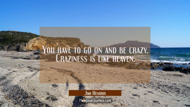 You have to go on and be crazy. Craziness is like heaven.