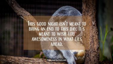 This good night isn't meant to bring an end to this day. It's meant to wish you awesomeness in what lies ahead. Good Night Quotes
