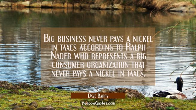 Big business never pays a nickel in taxes according to Ralph Nader who represents a big consumer or