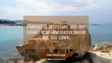 Patience is necessary and one cannot reap immediately where one has sown.
