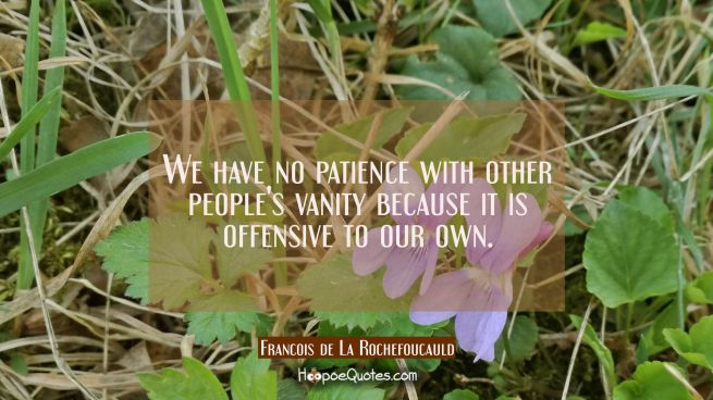 We have no patience with other people's vanity because it is offensive to our own.
