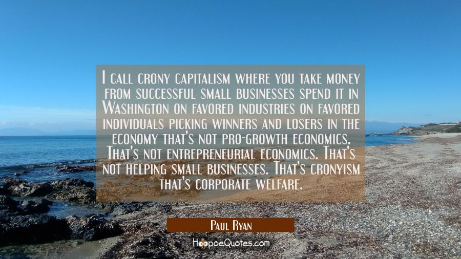 I call crony capitalism where you take money from successful small businesses spend it in Washingto Paul Ryan Quotes