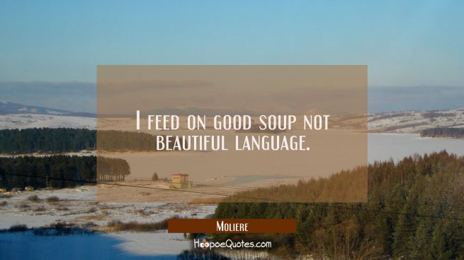 I feed on good soup not beautiful language.