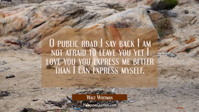 O public road I say back I am not afraid to leave you yet I love you you express me better than I c