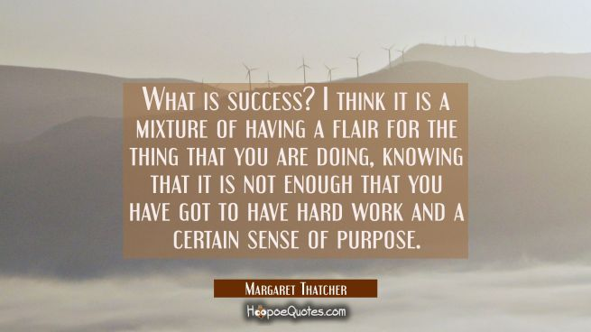 What is success? I think it is a mixture of having a flair for the thing that you are doing, knowin