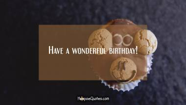 Have a wonderful birthday! Birthday Quotes