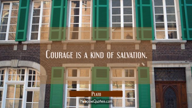Courage is a kind of salvation.