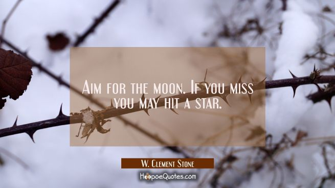 Aim for the moon. If you miss you may hit a star.