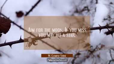 Aim for the moon. If you miss you may hit a star. W. Clement Stone Quotes