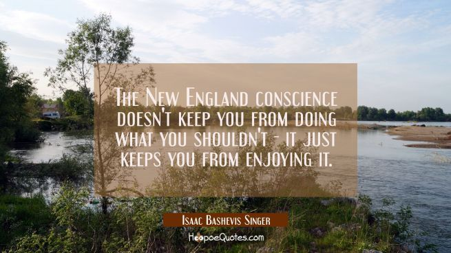 The New England conscience doesn't keep you from doing what you shouldn't - it just keeps you from
