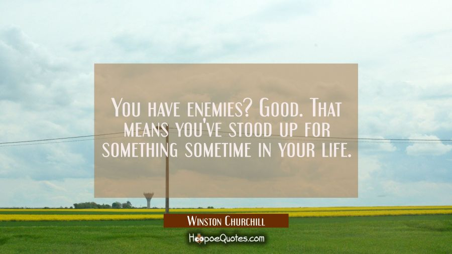 You have enemies? Good. That means you've stood up for something sometime in your life. Winston Churchill Quotes