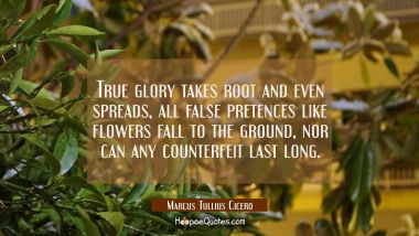 True glory takes root and even spreads, all false pretences like flowers fall to the ground, nor ca