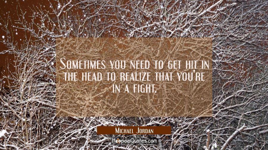 Sometimes you need to get hit in the head to realize that you're in a fight. Michael Jordan Quotes