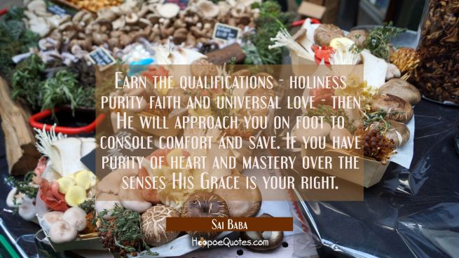 Earn the qualifications - holiness purity faith and universal love - then He will approach you on f