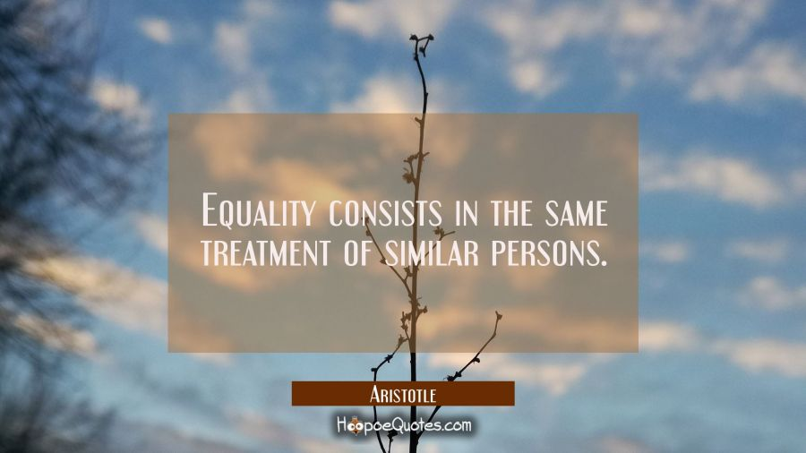Equality consists in the same treatment of similar persons. Aristotle Quotes